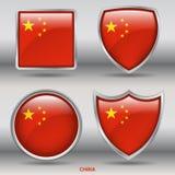 Kina flagga i samling för 4 former med den snabba banan Arkivbild
