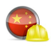 Kina flagga och konstruktionshjälm Arkivbilder