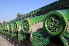 Kina forntida tegelplatta på väggen Royaltyfri Bild