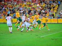 Kina fotbollTeam Defensive linje arkivfoton