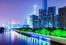 Kina Guangzhou natt Royaltyfri Bild