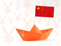 Kina handlar krigbegrepp och porslinflaggan royaltyfri illustrationer