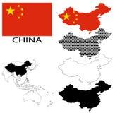 Kina - konturöversikter, nationsflagga- och Asien översiktsvektor Arkivfoton