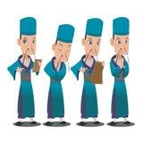 Kina Lord Cartoon Character Set stock illustrationer
