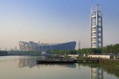 Kina nationell stadion i Beijing Arkivfoton