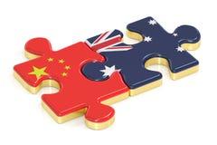 Kina och Australien förbryllar från flaggor, tolkningen 3D Royaltyfria Bilder