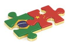 Kina och Brasilien förbryllar från flaggor, tolkningen 3D royaltyfri illustrationer
