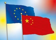 Kina och Europa flaggor Royaltyfri Fotografi