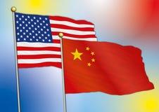 Kina och Europa flaggor Arkivfoton