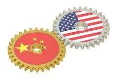 Kina och Förenta staternaförbindelsebegrepp, flaggor på kugghjul 3d royaltyfri illustrationer