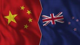 Kina och Nya Zeeland halva flaggor tillsammans vektor illustrationer
