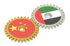 Kina och UAE sjunker på kugghjul, tolkningen 3D vektor illustrationer