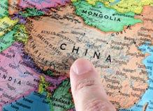 Kina på ett jordklot Fotografering för Bildbyråer