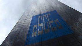 Kina påstår logo för korporation för konstruktionsteknik på reflekterande moln för en skyskrapafasad Redaktörs- tolkning 3D Royaltyfri Foto