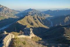Kina Pekin, Kina vägg, solnedgång, historia 2016 royaltyfria foton