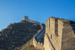 Kina Pekin, Kina vägg, solnedgång, historia 2016 royaltyfri fotografi