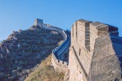 Kina Pekin, Kina vägg, solnedgång, historia 2016 arkivbild