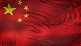 KINA realistisk vinkande flaggabakgrund Arkivfoto