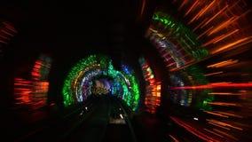 Kina Shanghai, bunden, Bundsighttunnel, långsam slutarehastighet arkivfilmer