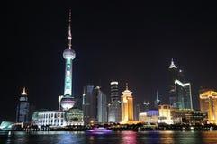 Kina Shanghai natt Arkivfoton