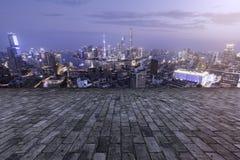 Kina Shanghai Urban horisont Royaltyfria Bilder