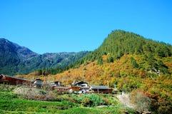 Kina Sichuan Jiuzhaigou landskap Arkivbild