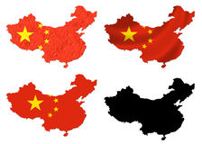 Kina sjunker över kartlägger collage Royaltyfria Bilder