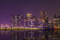 Kina stadsnightscape royaltyfri fotografi