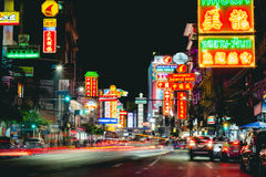 Kina stadYaowarat väg, Bangkok Thailand Royaltyfri Fotografi