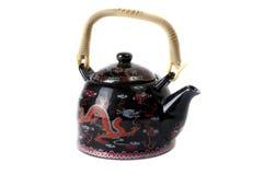 Kina teapot som isoleras på vitbakgrund Fotografering för Bildbyråer