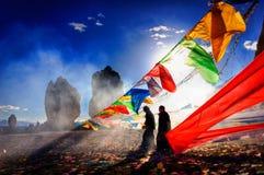 Kina Tibet, 16 09 Festmåltid 2007 av Bonreligionen på sjön Namtso Arkivbild
