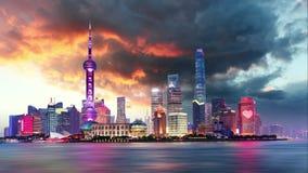 Kina Tid för Shangahi horisontcityscape schackningsperiod stock video