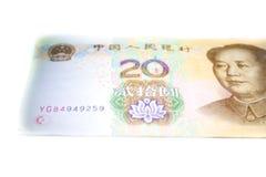 Kina tjugo RMB, YUAN Banknotes Arkivfoto