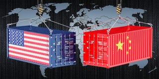 Kina USA handel och tariffar krigar, begreppet framförande 3d stock illustrationer