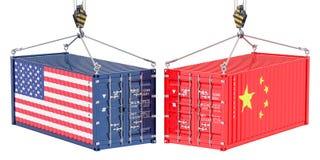 Kina USA handel och tariffar krigar, begreppet framförande 3d vektor illustrationer