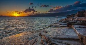 Kina väggsolnedgång Hawaii Arkivfoton