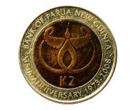 2 KINA (Verjaardag 35 van de Bank van Papoea-Nieuw-Guinea) obverse Royalty-vrije Stock Fotografie