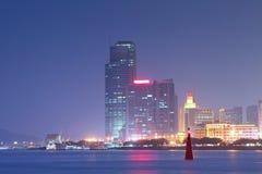 Kina Xiamen nattsikt Arkivbild
