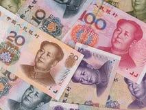 Kina yuanbakgrund, kinesisk pengarcloseup Arkivfoto