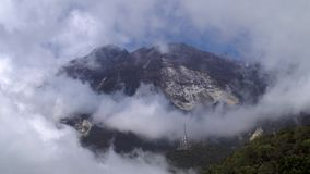 Kinabalu Mountain Peak with Clouds