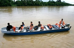 Kinabatangan River Safari. Tourists enjoy travel by boat through the beautiful scenery of the Mangrove Forest Kinabatangan River, Sabah, Malaysia Royalty Free Stock Image
