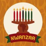 Kinara Icon liso com velas e a fita iluminadas, ilustração do vetor ilustração stock