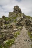 Kinbane castle. Old castle ruin on antrim coast Royalty Free Stock Photography