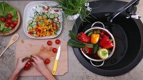 Kind übergibt die Zubereitung von Tomaten für einen Gemüsesalat - Draufsicht stock footage