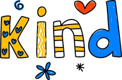 Kind. Whimsical drawing of the word KIND isolated on white Stock Images