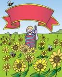 Kind-Abenteuer: Sonnenblume-Feld mit Fahne Lizenzfreie Stockfotografie