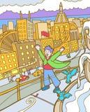 Kind-Abenteuer: Windige Stadt Stockfotos
