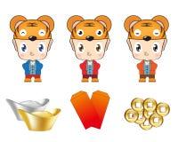 Kind-Abnutzungs-Tiger-Hut mit Schatz Stockfotos