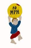 Kind-Achtung 10 MPH-Zeichen Stockfotografie