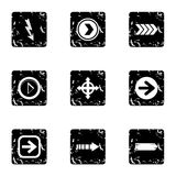 Kind of arrow icons set, grunge style. Kind of arrow icons set. Grunge illustration of 9 kind of arrow vector icons for web Royalty Free Stock Photo